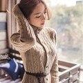 Бесплатная доставка 2016 новых корейских женщин новый толстые зимнее пальто длинный вязаный свитер платья с поясом свитер джемпер женский