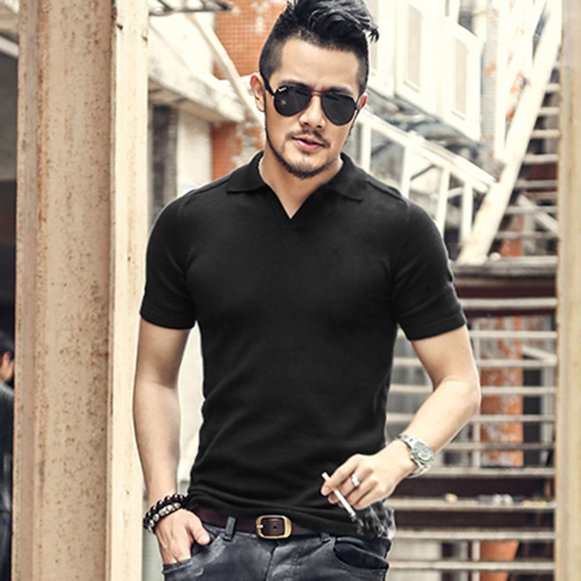 96648ff0537 Summer men tops tees Short Sleeve polo Shirt men Knitted polo shirt slim  Brand cotton Men s Casual polos New J614