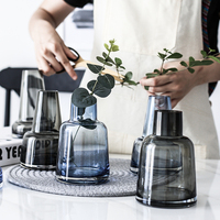 Lighthouse glass vase Gray/blue terrarium glass containers Mini Small flower vase home decoration Bottle Flowerpot vases wedding