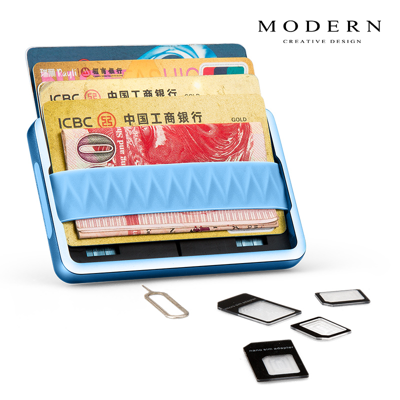 Modern - Brand Aluminum Minimalist Men Wallet Card Holder Elastic Rfid Blocking Mini Wallet Organizer Slim Card Case