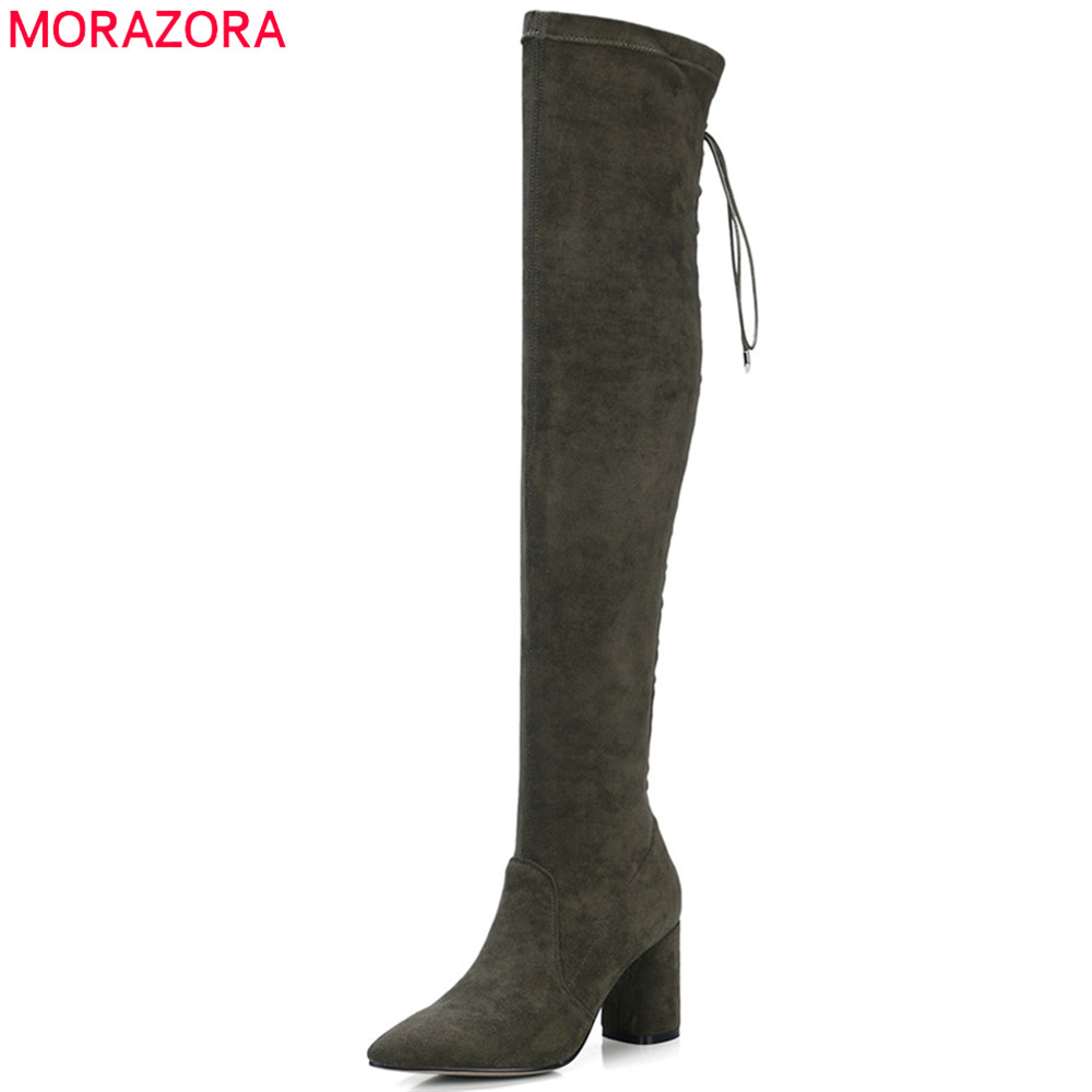 MORAZORA black army green fashion women boots pointed toe zipper kid suede+stretch fabric boots cross tied over the knee boots