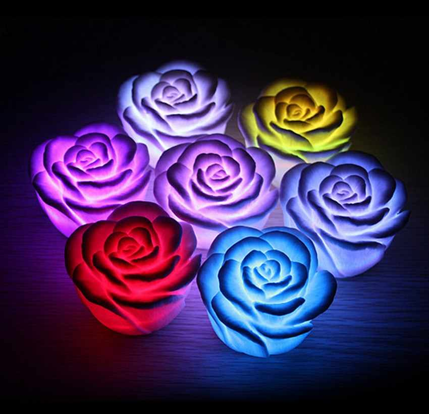 Hot Sell 7 Colors Changing Auto Flameless Romantic Rose Shaped LED Xmas Wedding Party S