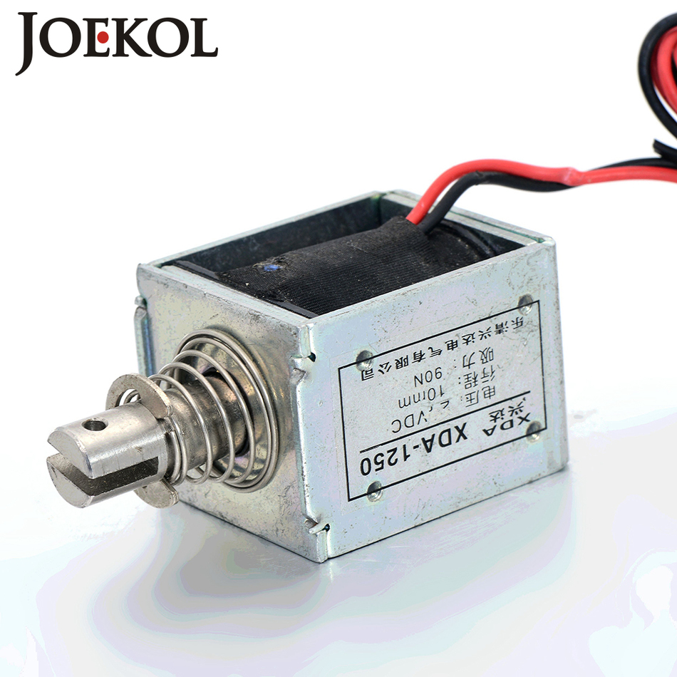 JK-1250 DC 12V or 24V push-pull Type Open Frame Linear DC Solenoid Electromagnet Suction 90N 10mm Holding
