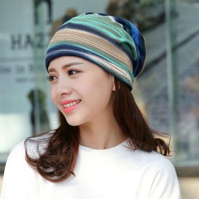 7e828680d633f1 Winter Turban Hat Women Winter Beanie Dual Purpose Hat/Scarf Thick Warm  Stocking Hat Female Bonnet Female Warm Wool Cap Winter