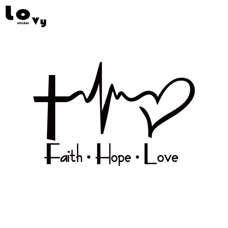 Faith Hope Love Vinyl Car Sticker Cartoon Jesus Christian Religious Bible Verse For Car Window Body Decoration   CA0763