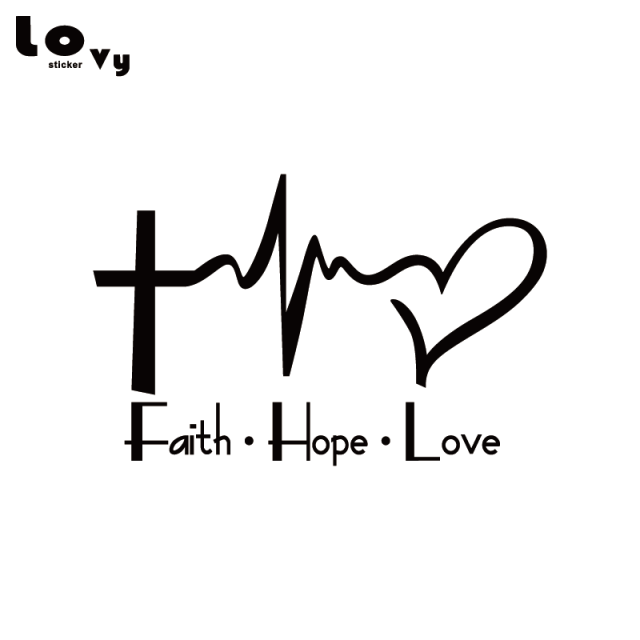 Faith Hope Love Vinyl Car Sticker Cartoon Jesus Christian Religious