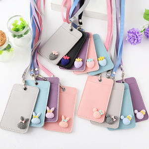 Women Cute Pu Leather ID Credit Card Holder Students Bus Card Case Lanyard Girl Rabbit Door Identity Badge Cards Cover