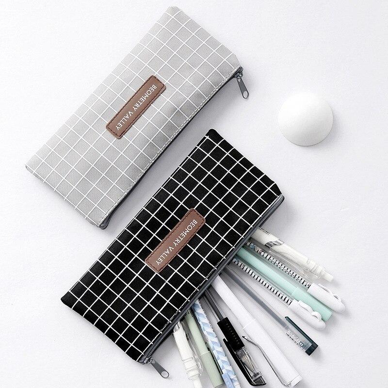 Pencil Bag Case Grid Dot Canvas Stationery Storage Simple Organizer  3