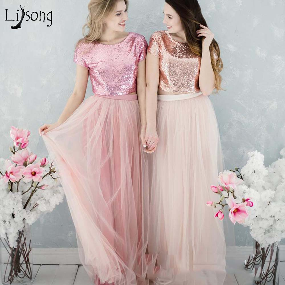 Pretty Blush Pink 2 Pieces   Bridesmaid     Dresses   2019 Sequined Top And Long Tulle Skirt Honor Of The Bride Prom Gowns