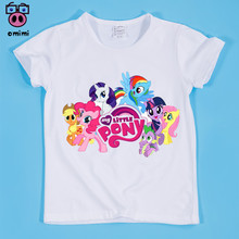 Baby Clothes2~9 Year Kid Cartoon Pony Horse Print T-shirt Boy and Girl Top Tee Baby Funny Cartoon Animal Tee Shirt slogan print marled tee