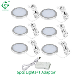 2.5W LED Under Cabinet Lights Puck Light Ultra Thin Round Decorative Home Kitchen Hanging Case Cupboard Furniture lighting