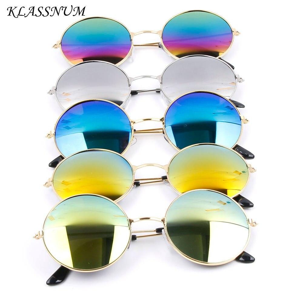 Men Women Glasses Vintage Retro Round PVC Frame Mirror Lens Sunglasses Eyewear