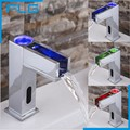 Automatic LED Sensor Faucet  Waterfall Copper 3 Colour Change Basin Sensor Mixer Taps for Washbasin Bathroom