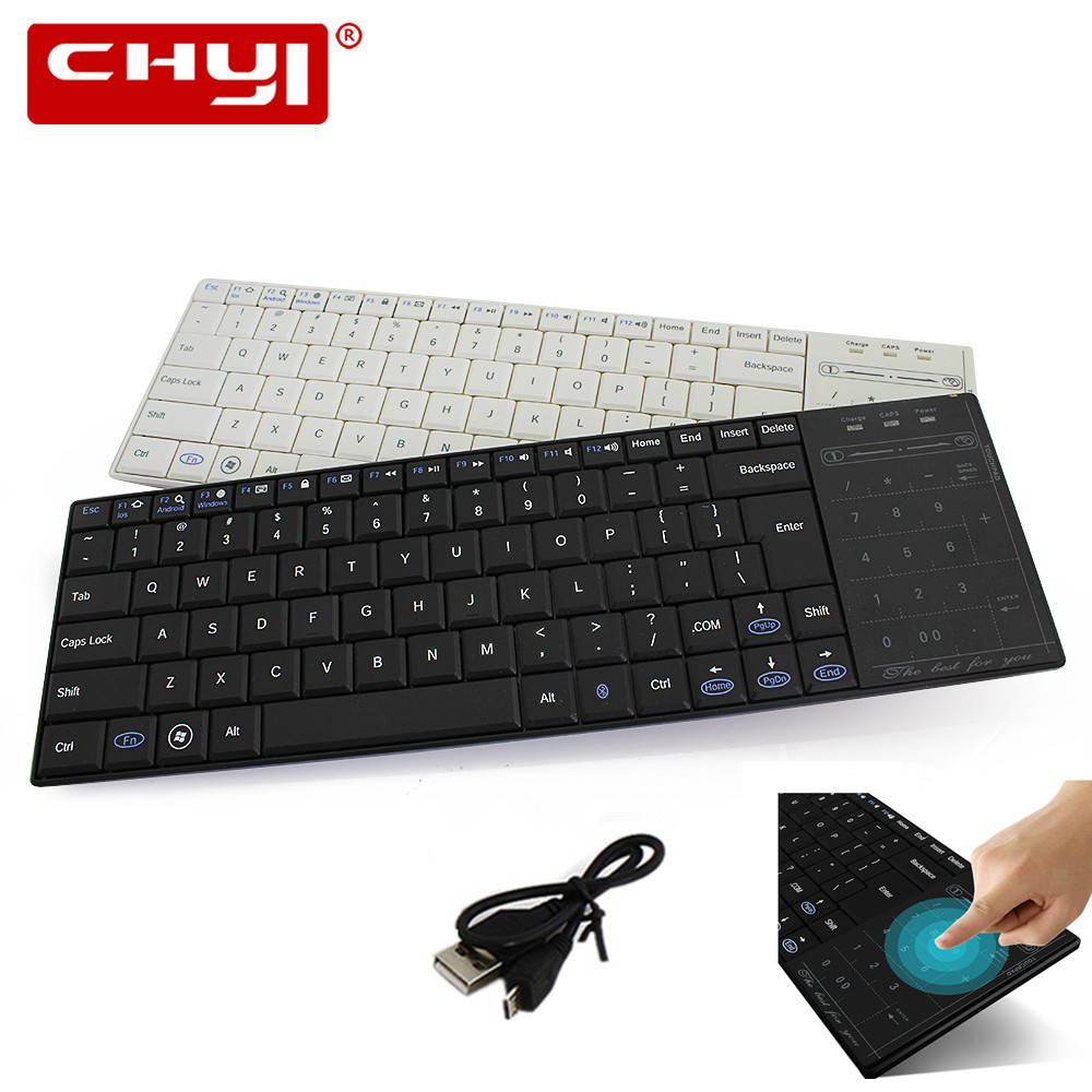 Wireless Bluetooth Keyboard Ultra Slim English Keypad with Touchpad USB Charging Cable Keyboards for Macbook Laptop Computer rapoo k2600 black slim type usb wireless keyboard with touchpad