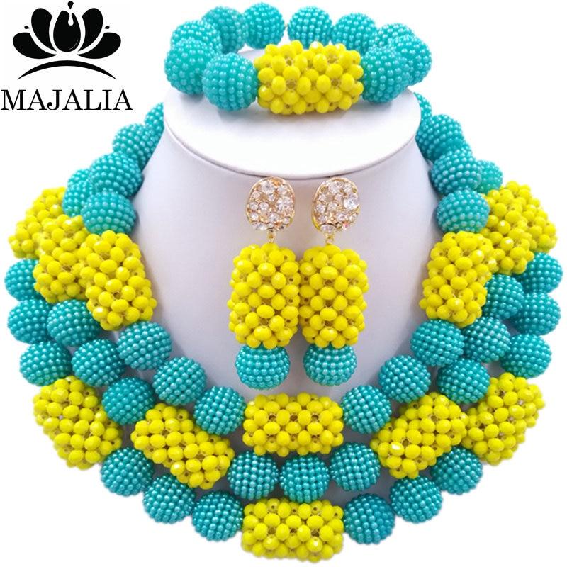 все цены на Majalia Fashion Charming Nigerian Wedding African Jewelry Set Lake blue and Yellow Crystal Necklace Bride Jewelry Sets 3SZ083 онлайн