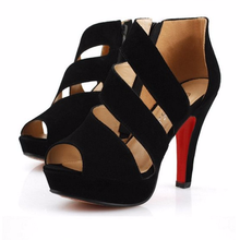 Sexy high heels Roman fish mouth side zipper hollow-out women sandals