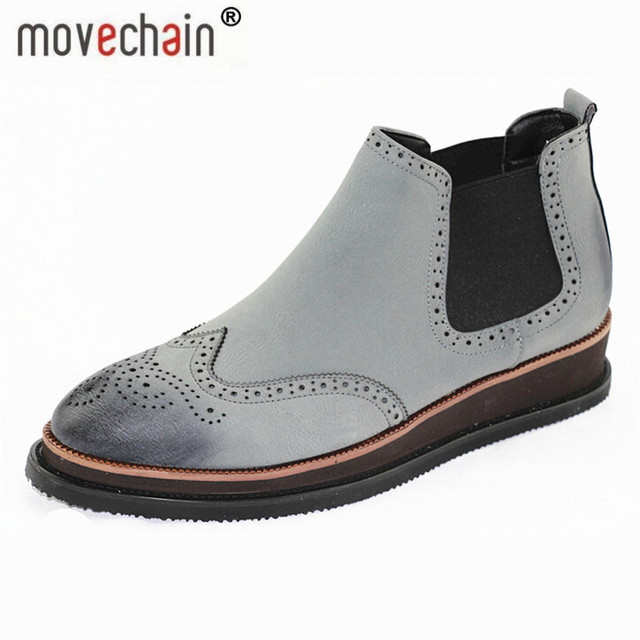 a361d627dc18e Man Genuine Leather Chelsea Boots Casual Flats Brand Men's Fashion Ankle  Martin Boot Vintage Carved Brogue Shoes