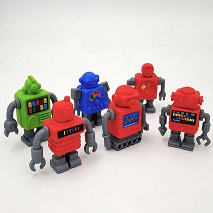 NEW ARRIVAL Freeshipping Robot Eraser Mechanic Machine Eraser Korean Fashion Magic Eraser With 6 Pcs Per Lot With Random Color