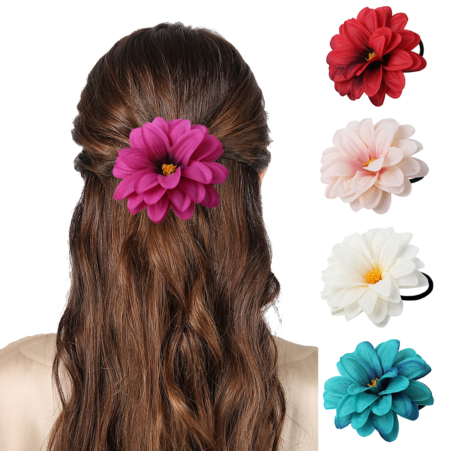 Haimiekang 2019 Sweet Floral Crown Scrunchies Elastic Hair Bands Women Girls Accessories Ponytail Holder Rubber Hairbands