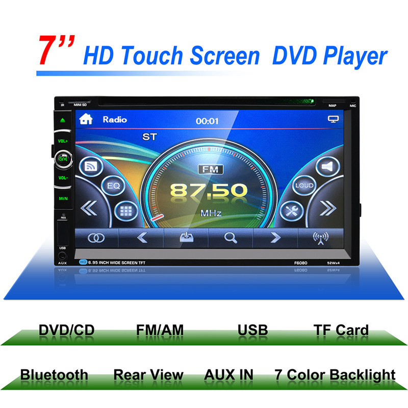 F6080G 7 Car Stereo DVD Player GPS Navigation Support Front and Rear View font b Camera