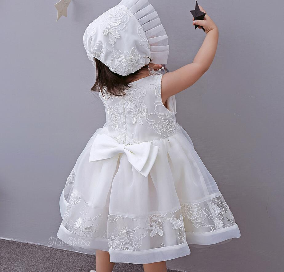 Vintage Off White Bowknots Baby Girl Christening Dress Princess ...