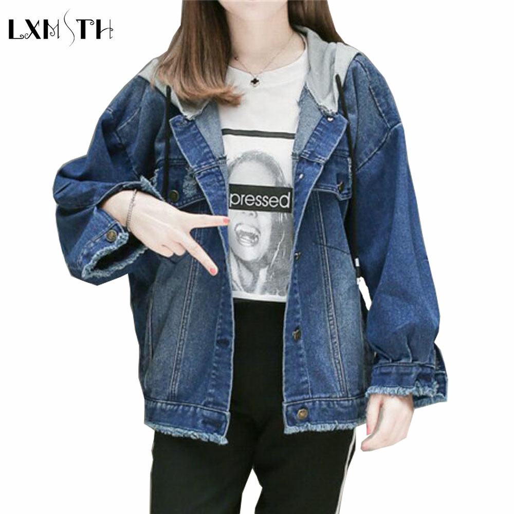 LXMSTH Plus Size Women Denim Coat Spring Autumn Korean Batwing Sleeve Loose Womens jean Coats And jackets Casual Hooded jacket