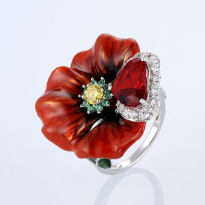 Image 2 - SANTUZZA Silver Flower Rings For Women 925 Sterling Silver Creative Red Rose Flower Ring Fashion Jewelry Handmade Enamel