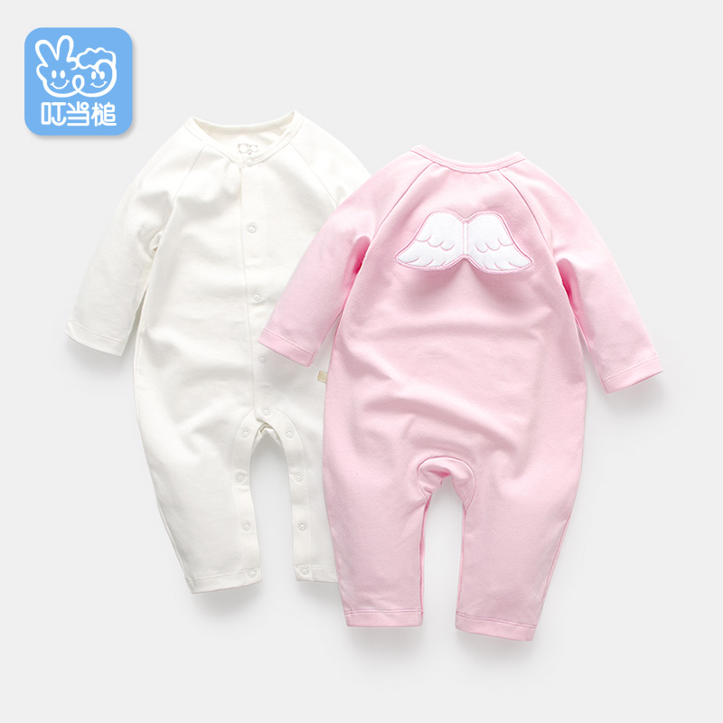 Dinstry Spring&Autumn angel solid Long sleeve baby rompers new born baby clothes baby jumpsuit Unisex dinstry 2018 new born baby clothes bird print baby jumpsuit summer baby rompers baby cotton dress