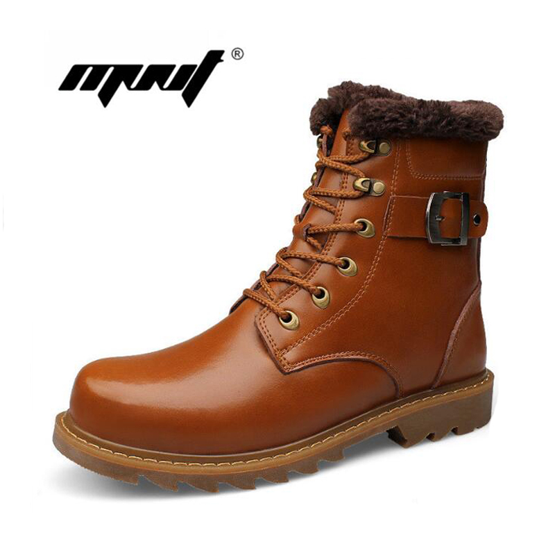 Full Leather Retro Men Boots High Top Cotton Padded Shoes Men Fashion Warm Plush Leather Ankle Boots Plus Size Winter Snow Boots top high speed full teeth piston