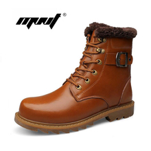Full Leather Retro Men Boots High Top Cotton Padded Shoes Men Fashion Warm Plush Leather Ankle Boots Plus Size Winter Snow Boots