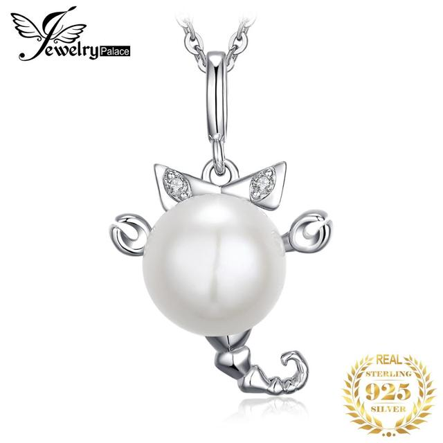 JewelryPalace 925 Sterling Silver Pendants Necklace Button Shape Cultured Pearl Zodiac Sign 3D Scorpio Pendant Without Chain