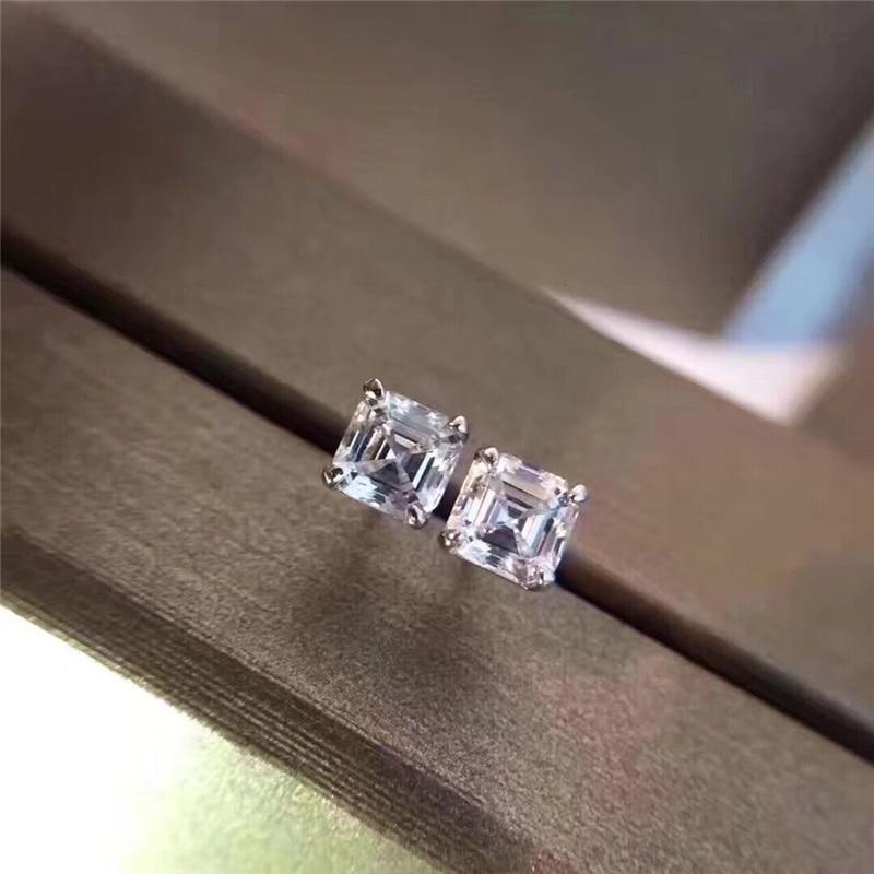 HTB1GfiMjOMnBKNjSZFoq6zOSFXab AINUOSHI Brand Sparkling Square Stud Earring Asscher Cut Sona Diamond Pure 925 Sterling Silver Shining Earring Lady Jewelry Gift