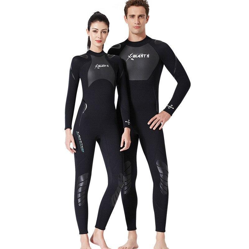 9e8c978601d5 De alta calidad nuevo 3mm negro fresco de buceo de Triatlón de neopreno  traje de neopreno para la natación Surf hombres equipo de buceo dividir ...