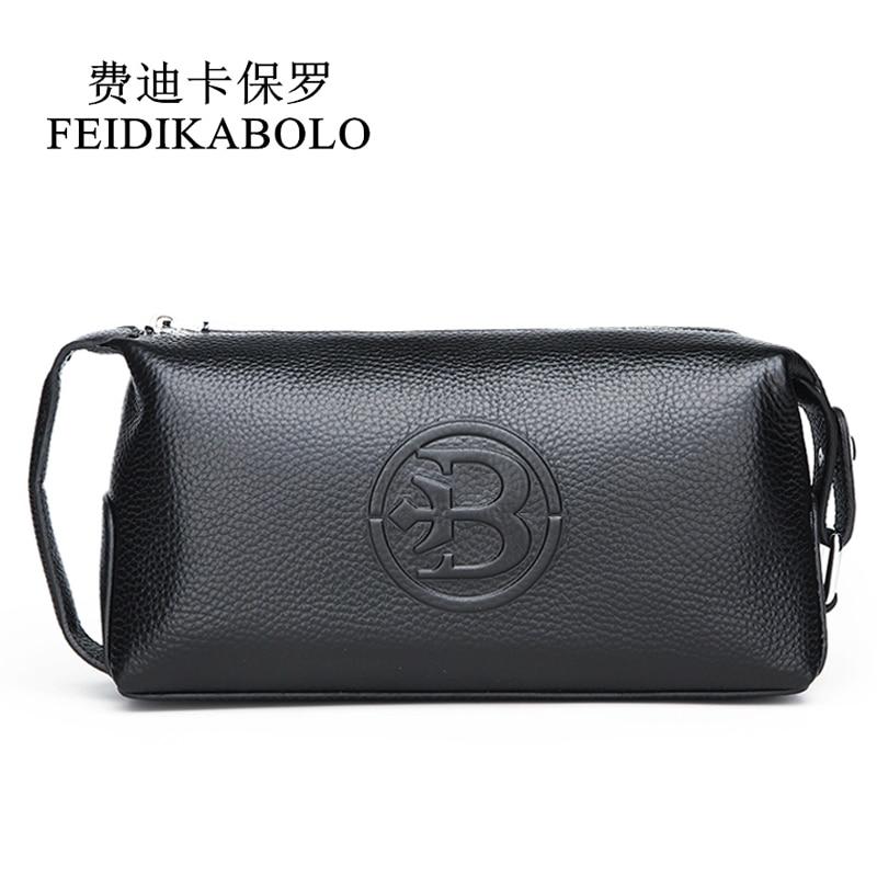 FEIDIKABOLO 100% Genuine Leather Men wallet Clutch Bags Men's Handy Bag Portable Long Male Purses Carteira Masculina Man Purse