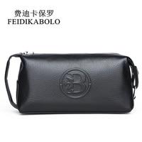 FEIDIKABOLO 100 Genuine Leather Men Wallet Clutch Bags Men S Handy Bag Portable Long Male Purses