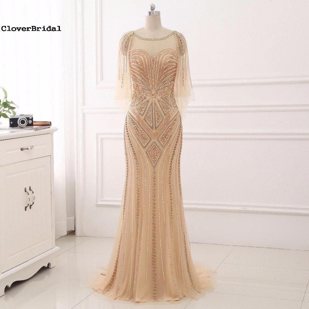 CloverBridal 2017 New Luxury Bling Bling Glitter Mermaid Champagne Floor Length Prom Dresses with Tassels Sleeves