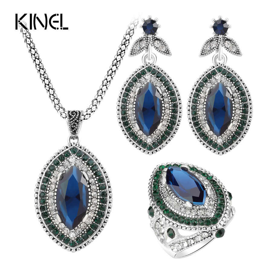 Kinel Luxury 3Pcs Vintage Wedding Jewelry Sets For Women 2017 Fashion Silver Color Big Crystal Rings Earring And Necklace