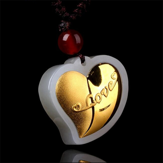 TJP Pure Gold And Hetian Gold Inlay Jade Pendant Love Pendant Giveaway Manufacturers free shipping