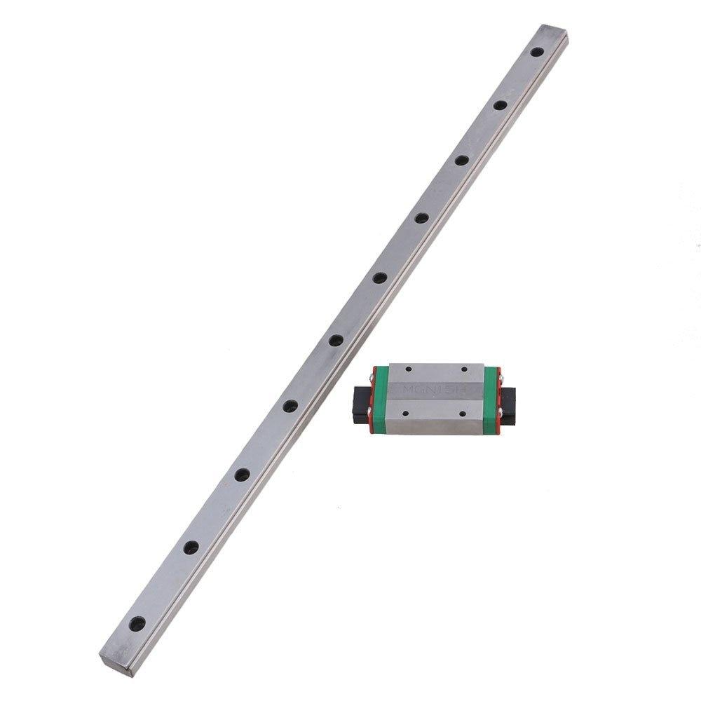 MGN15 400mm Length Bearing Steel Linear Guideway Rail &Extension Sliding Block Precision Measurement Silver Set of 2MGN15 400mm Length Bearing Steel Linear Guideway Rail &Extension Sliding Block Precision Measurement Silver Set of 2