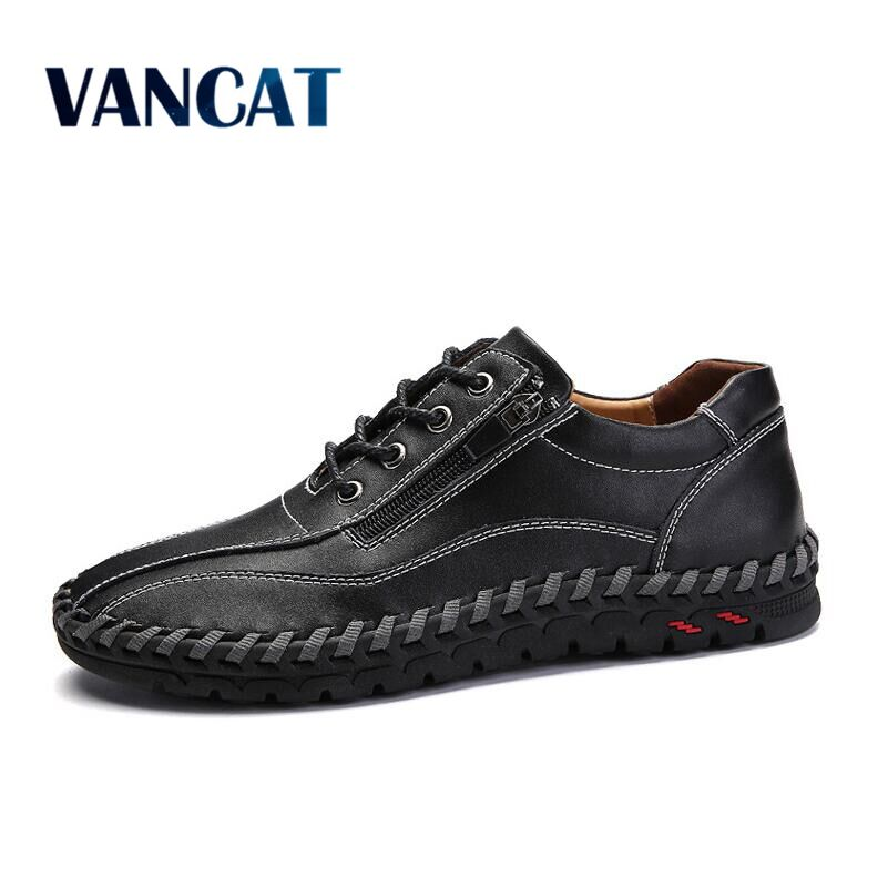 VANCAT Brand Fashion Breathable Genuine Leather Men Shoes Lace Up Moccasins Flats Mens Casual Shoes Hot Sale Large Sizes 38-48 cimim brand new hot sale men flats shoes fashion mens shoes casual comfortable mens shoes large sizes 38 48 superstar zapatos