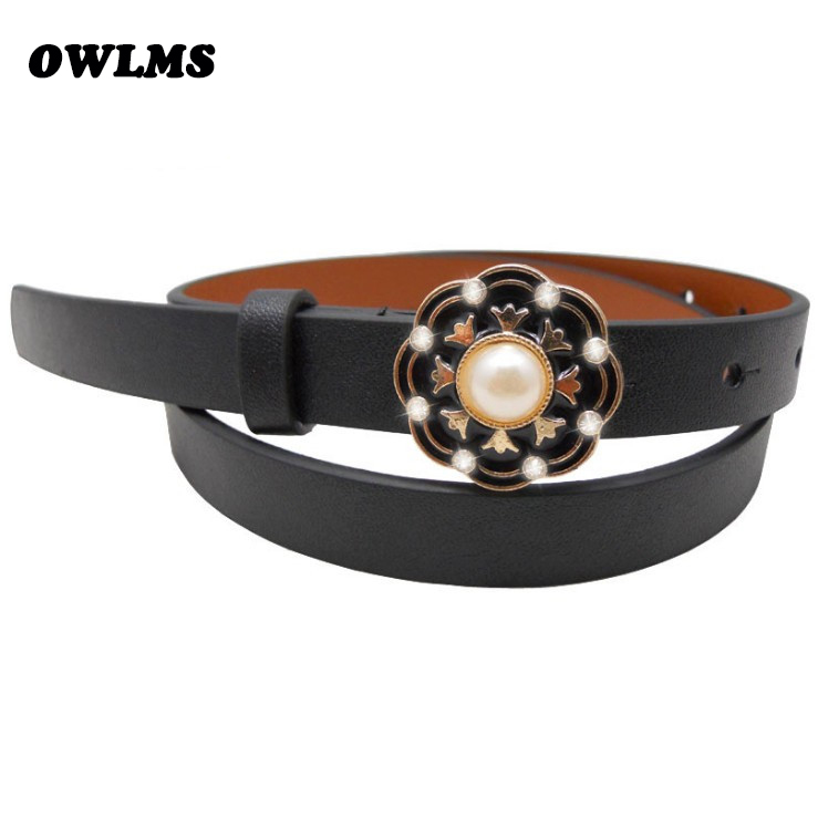 Vysoce kvalitní kožený tenký pásek malá módní dámská hubená kůže pasu popruh hnědá černá tenké pásy smalt květ perla