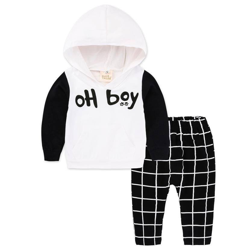 MUQGEW Winter Newborn Clothes Set Infant Baby Boy Letter Hooded Tops+Plaid Pants Christmas Outfits Roupa Infantil Menino 11.11