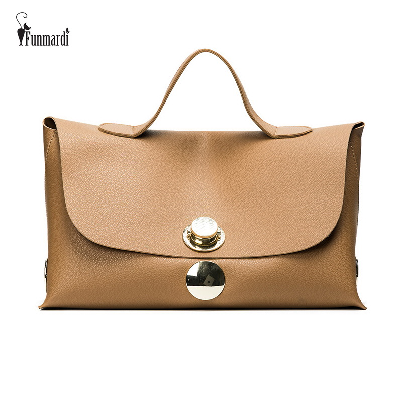 FUNMARDI Fashion Luxury Lock Women Handbags High Quality PU Leather Bags Famous Brands Handbag Big Capacity Ladies Bags WLHB1706