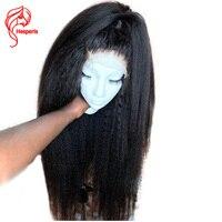 Hesperis 360 кружевных фронтальных париков курчавая прямая шнуровка, парики с волосами младенца предварительно сорвал бразильские Remy человечес