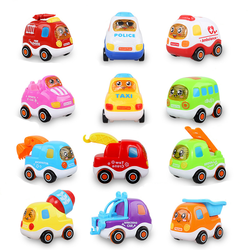 12 Models Pull Back Car Toys Car Children Racing Car Baby Mini Cars Cartoon Pull Back Bus Truck Kids Toys For Children Boy Gifts
