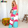Summer school girl striped dress family matching outfits casual sleeveless mom and baby kid mother and daughter dresses 2017 NMD