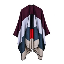 2019 new brand winter scarf women ponchos and caps fashion plaid thick shawls cashmere warm female pashmina Christmas gift