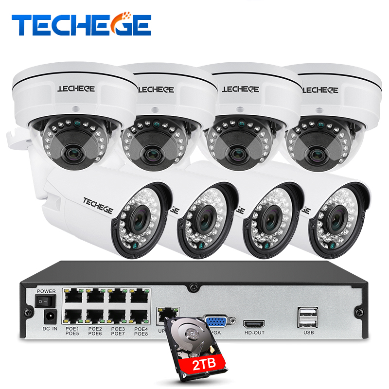 Techege 8CH full 1080P POE NVR kit 48V POE NVR 2 0MP 3000tvl NIght Vision Waterproof