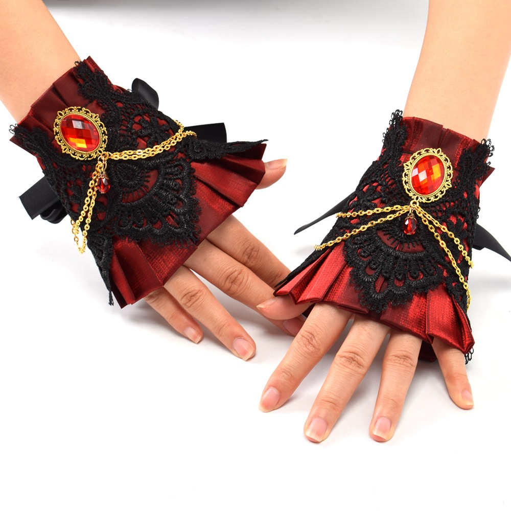 1 pasang Wanita Vintage Wristband Cuff Cuff Vintage Victorian Cosplay Accessory