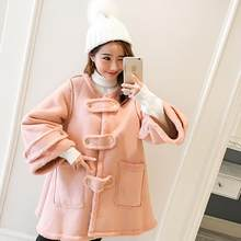 Sweet Pink Thicken Velvet Maternity Coats 2018 Autumn Winter Jackets Clothes for Pregnant Women Pregnancy Outwear DF680(China)